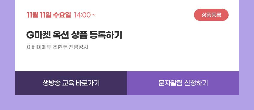 상품등록   11월 11일 수요일 14:00   G마켓 옥션 상품 등록하기   이베이에듀 조현주 전임강사