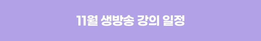 11월 생방송 강의 일정