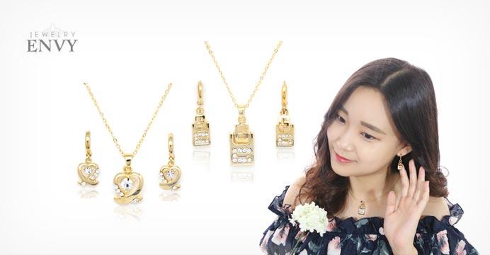 14KGP 골드핀 귀걸이 + 목걸이세트