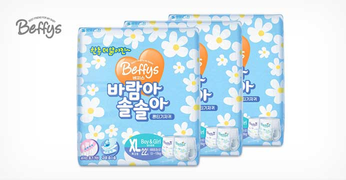 [베피스] 바람아솔솔아 팬티기저귀 공용 3팩