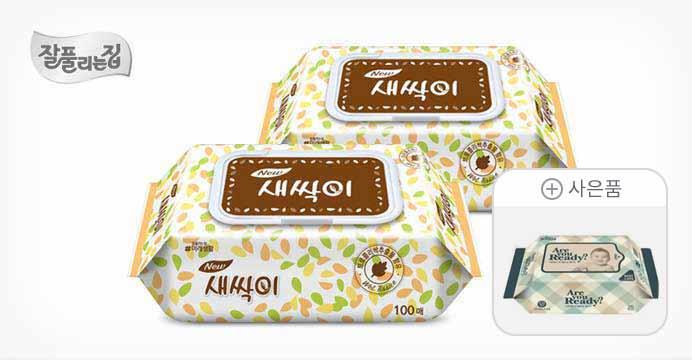 새싹이 물티슈 캡형 100매 10팩+휴대용1팩
