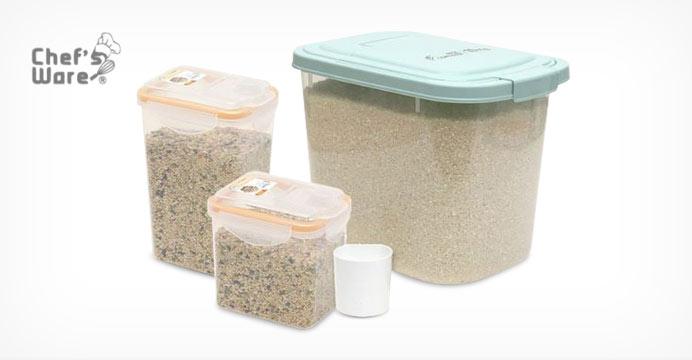 [셰프웨어] 쌀통10kg+잡곡통2개+계량컵1개
