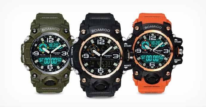 BOAMIGO F502 남성용 스포츠 방수 고무 시계