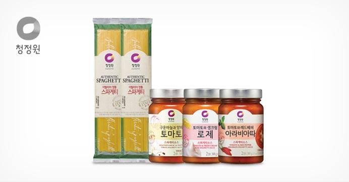 [15%쿠폰]청정원스파게티 소스3종x3병+면X2