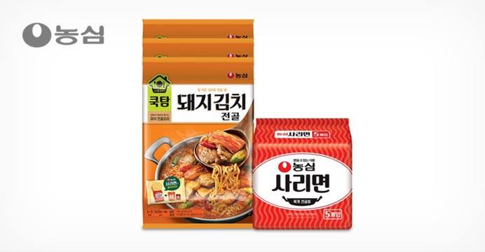 쿡탐 돼지김치전골 560g 3봉+사리면 5개