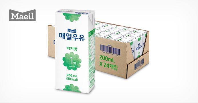 매일 멸균우유 저지방 1% 200ML 24팩