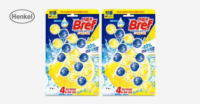 브레프 파워액티브 3.0 변기 레몬향 4P x2개