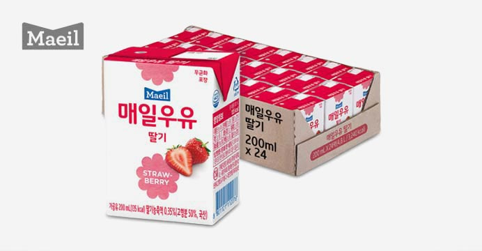 매일 딸기 멸균우유 200ml 24팩