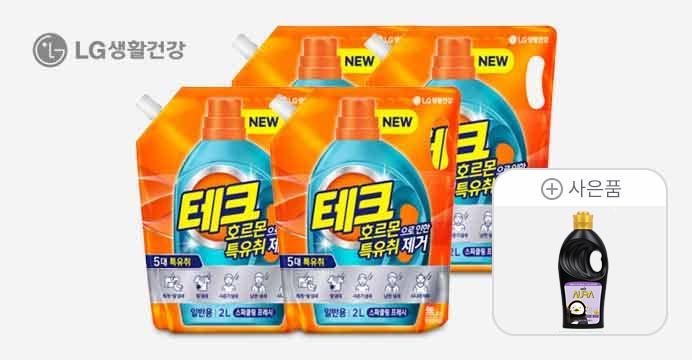 [17,770원]테크 특유취 액체세제 2L 4개+펭수1L